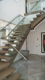 01 - Modern open rise Cut Stringer Straight stair with side mount Glass