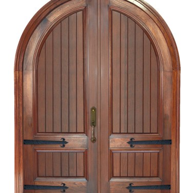 06 - Rustic Walnut Solid Double door with Iron straps
