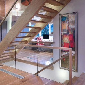 12 - Modern open rise stair with glass and wood rail