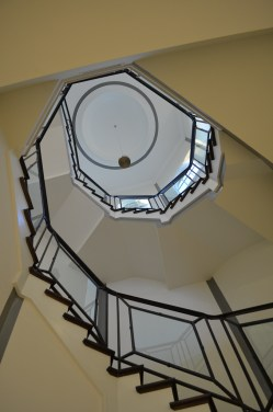 16 - Transitional Freestanding stairs with Glass and Iron rails