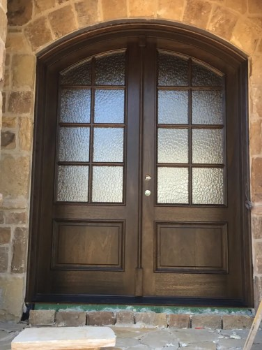 29 - Mahogany 8 lite with Hammered glass doors