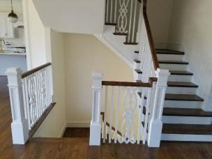 42 - Modern Farmhouse U Straight stairs with wood custom balusters