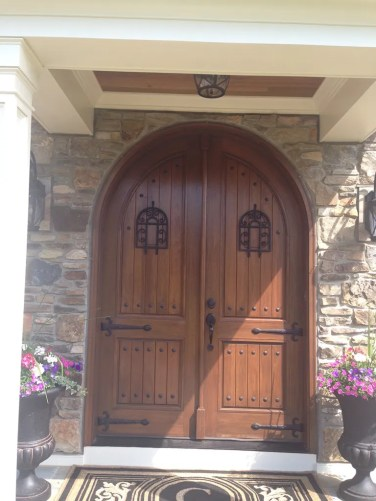 45 - Rustic Walnut Double solid doors with Speakeasy grill