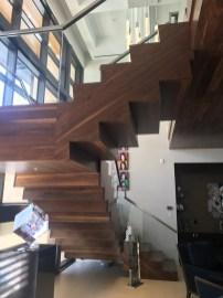 Contemporary Walnut U Straight stair with Glass rail