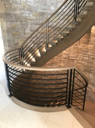 Modern Farmhouse Curved stair with White Oak rails and treads