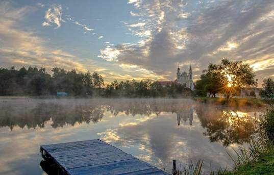 Lake and church in Belarus