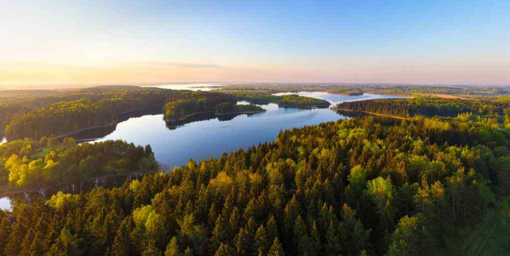 Sunrise on the lake, visit Belarus
