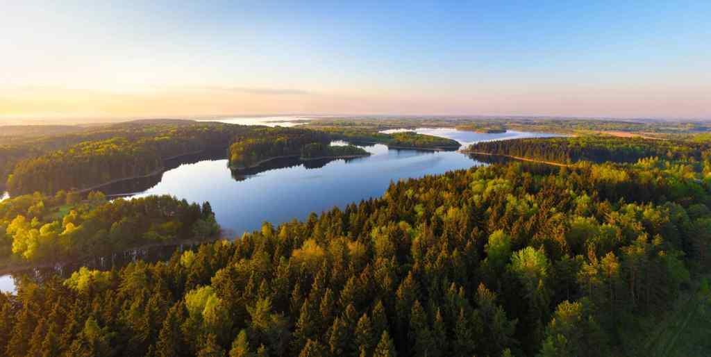 Sunrise on the lake, visit Belarus