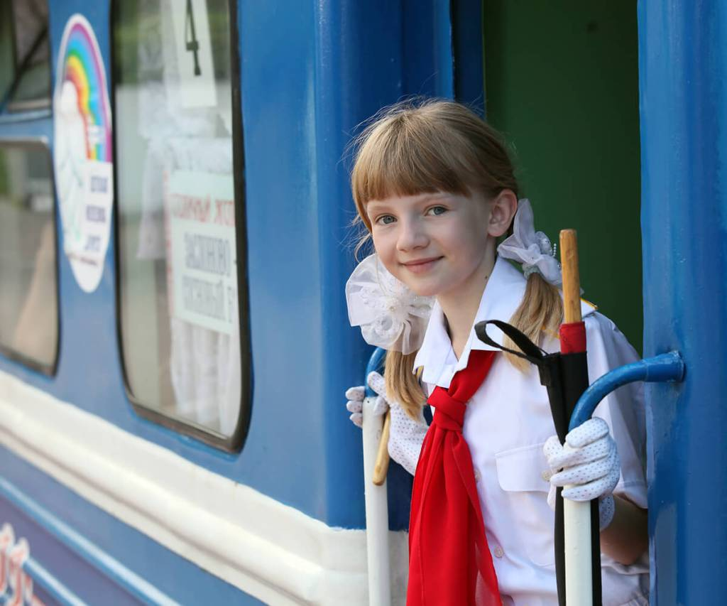 Children's Railway station Belarus, girl with a tie
