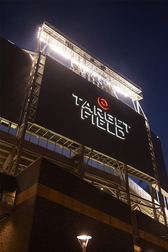 Target-Field-Signage during a night game