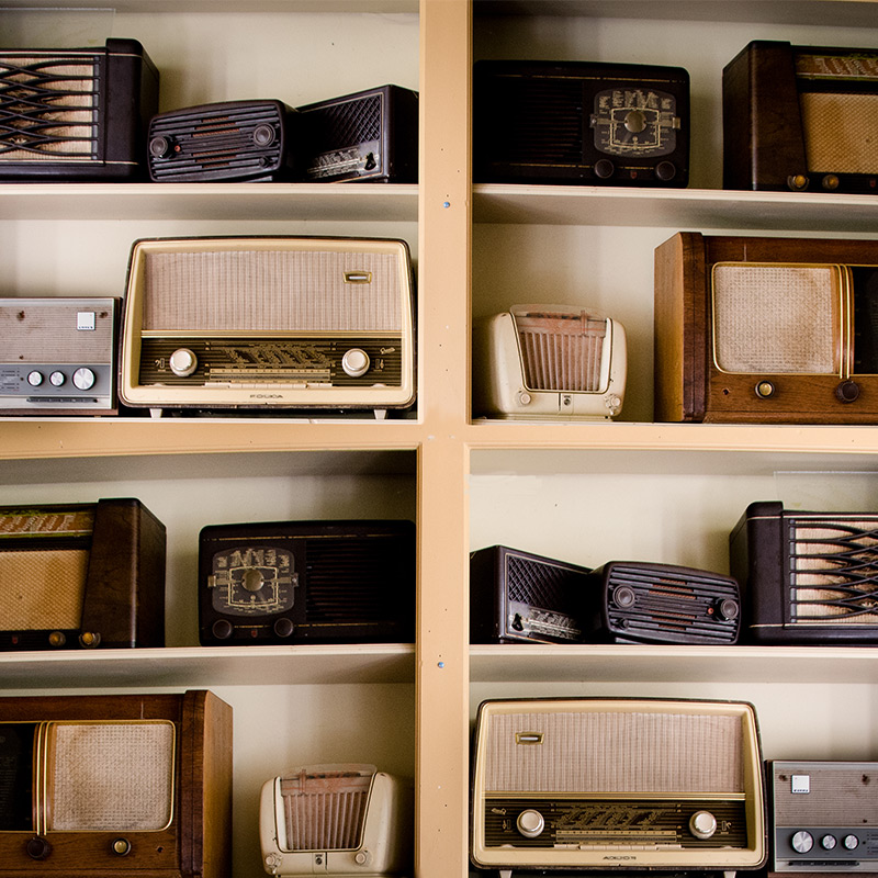 Vintage Music Shop with lots of radios