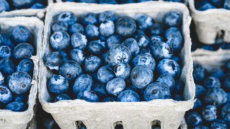 Blueberries on a cases