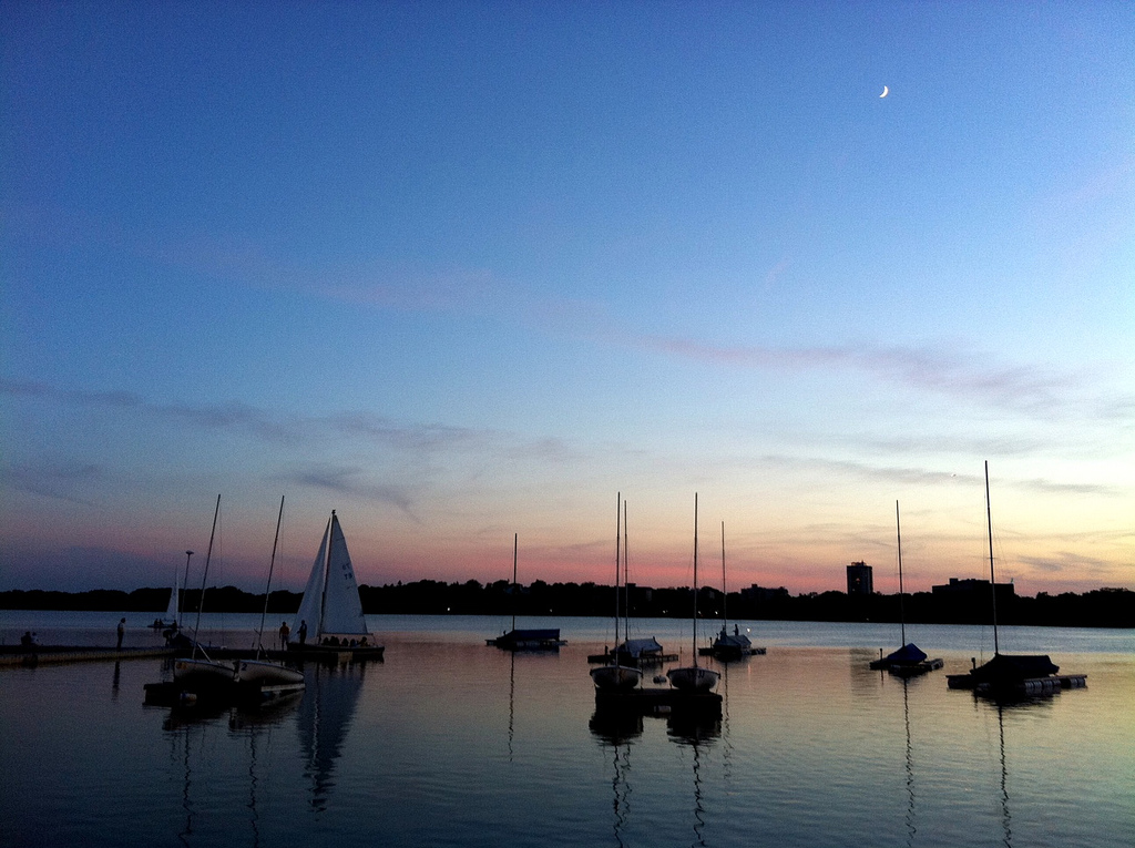 Lake Calhoun Tin Fish View of Sailboats