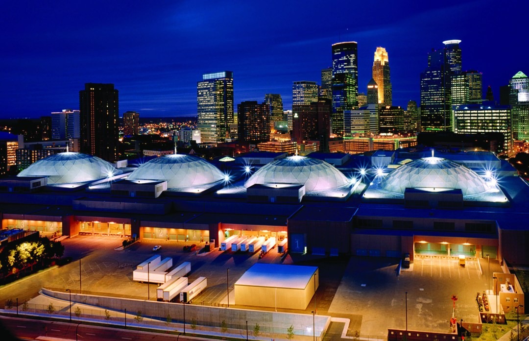 """Aerial View of the Minneapolis Convention Center's skydomes. Image by <a href=""""http://www.minneapolis.org/"""" target=""""_blank"""">Meet Minneapolis</a>"""