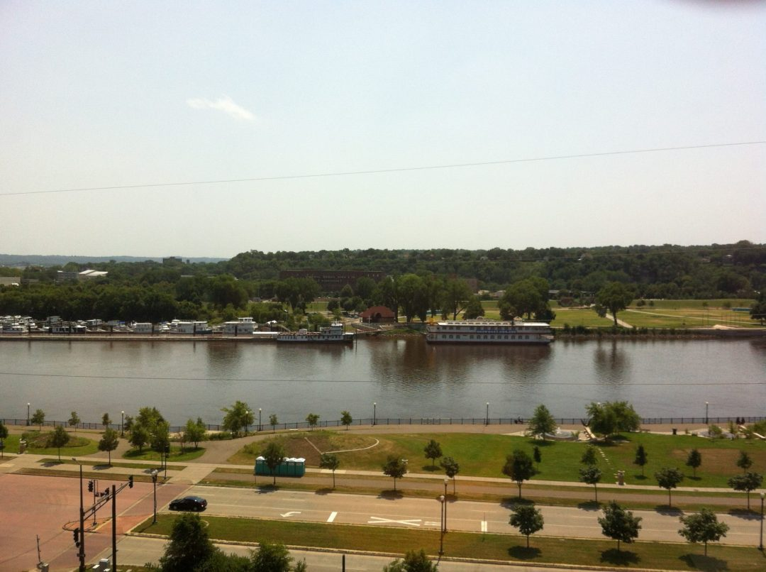 Boats lined up on the Mississippi River.