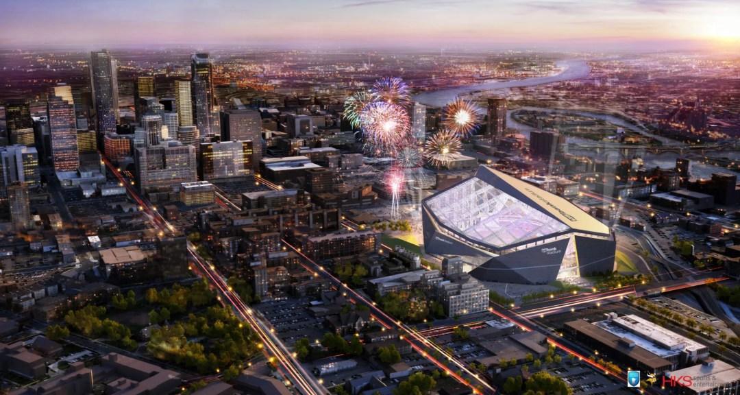 "U.S. Bank Stadium Aerial View. Image by <a href=""http://www.usbankstadium.com/"" target=""_blank"">U.S. Bank Stadium</a>"