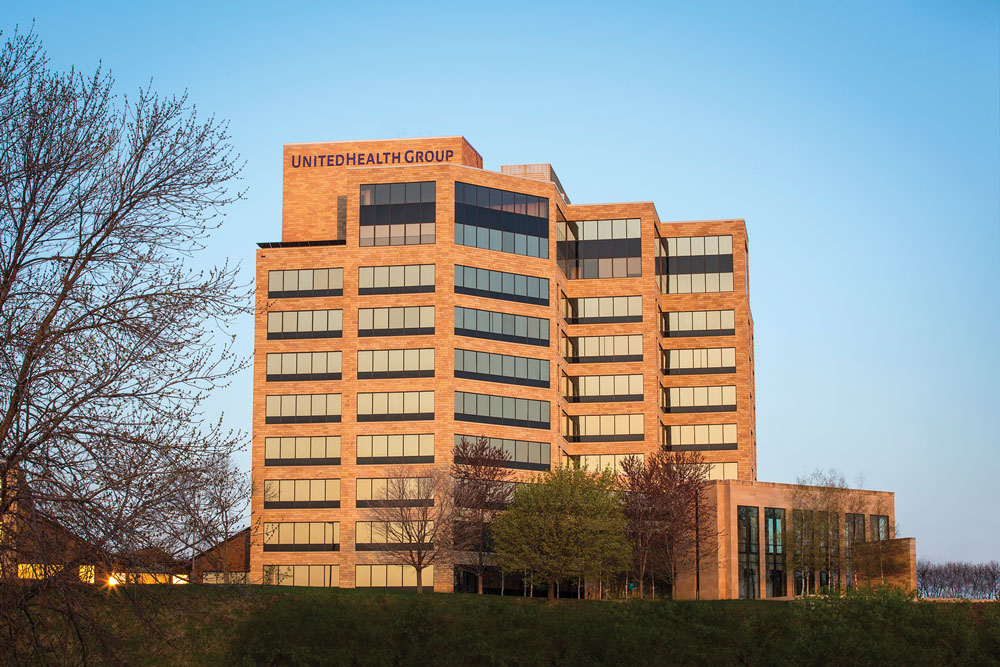 An outdoor shot of United Health Group's building.