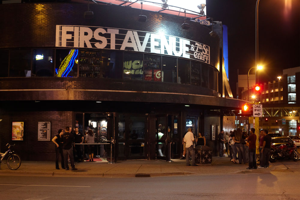 The entrance to First Avenue at night from the street.