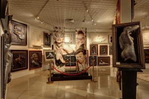 Griffin Gallery with relief sculptures and paintings of Hollywood stars
