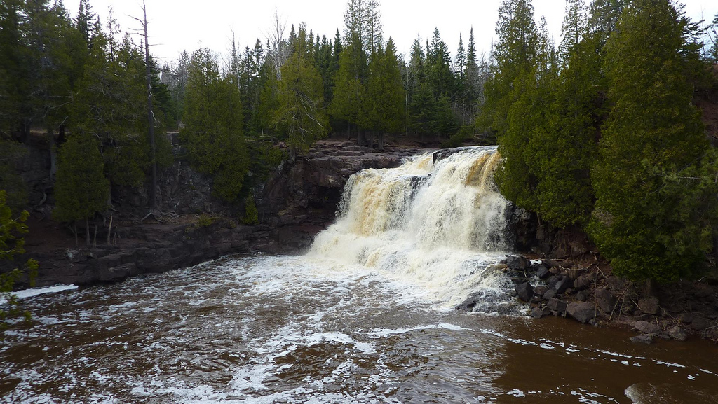 The falls at Gooseberry Falls surrounded by lush, green trees.