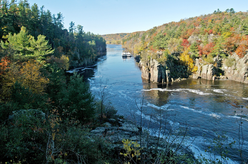 Fall scenery of the St. Croix River at Interstate State Park.