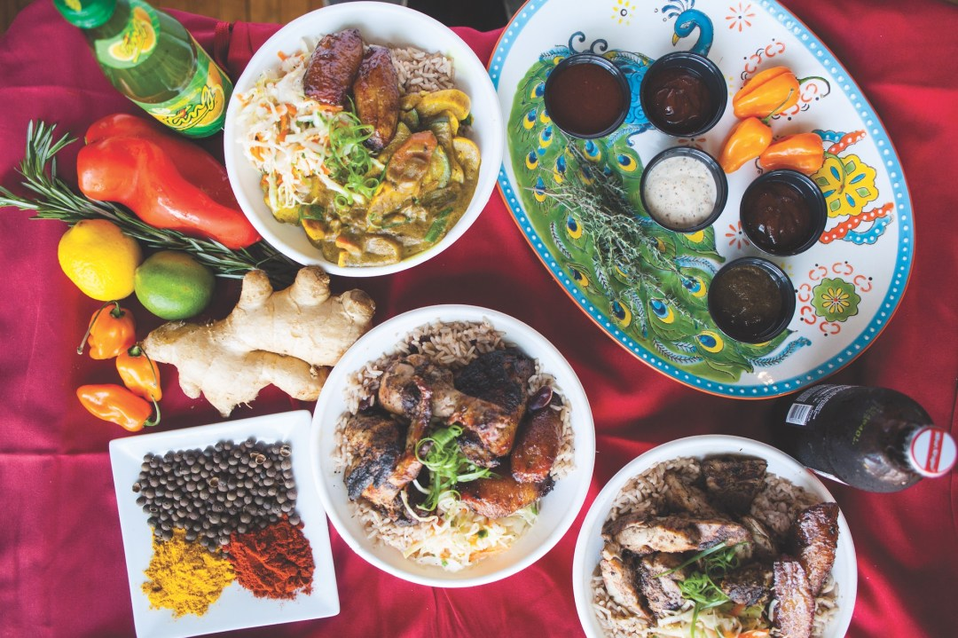 Colorful array of dishes from Pimento Jamaican Kitchen