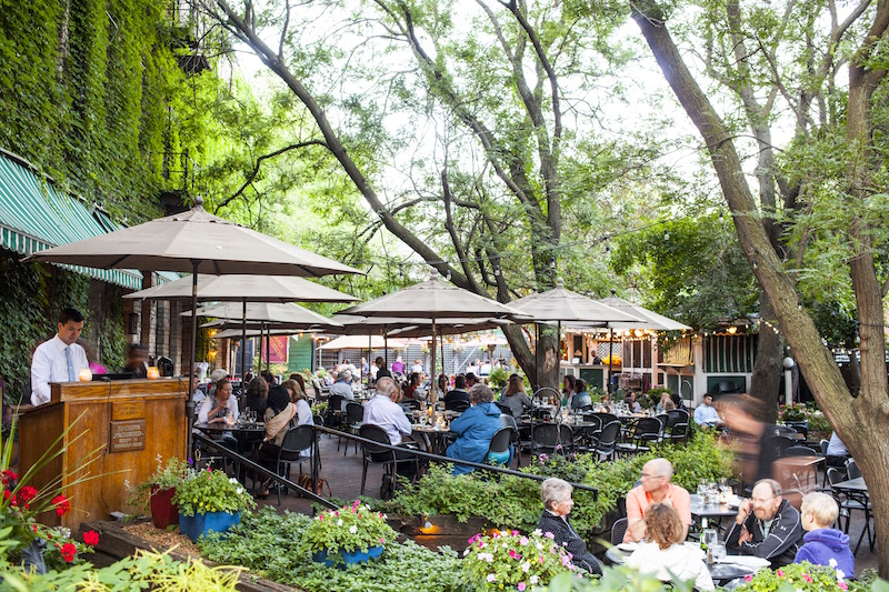 People sitting on a restaurant patio surrounded by trees and plantings in summertime.