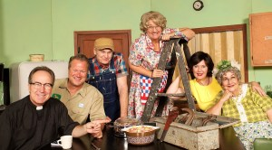 The six-person cast of Rise Up, O Men, the newest musical comedy from Plymouth Playhouse.
