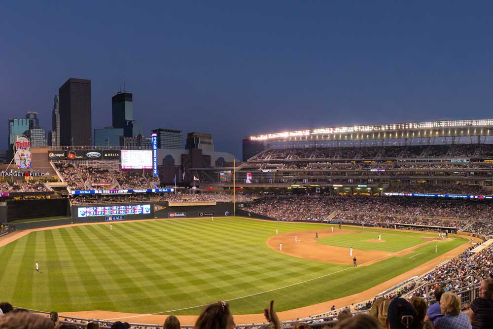 A Twins game at Target Field at night is one the place the Metro Transit Blue Line can take you.