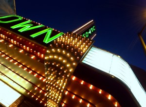 Uptown Theater marquee at night