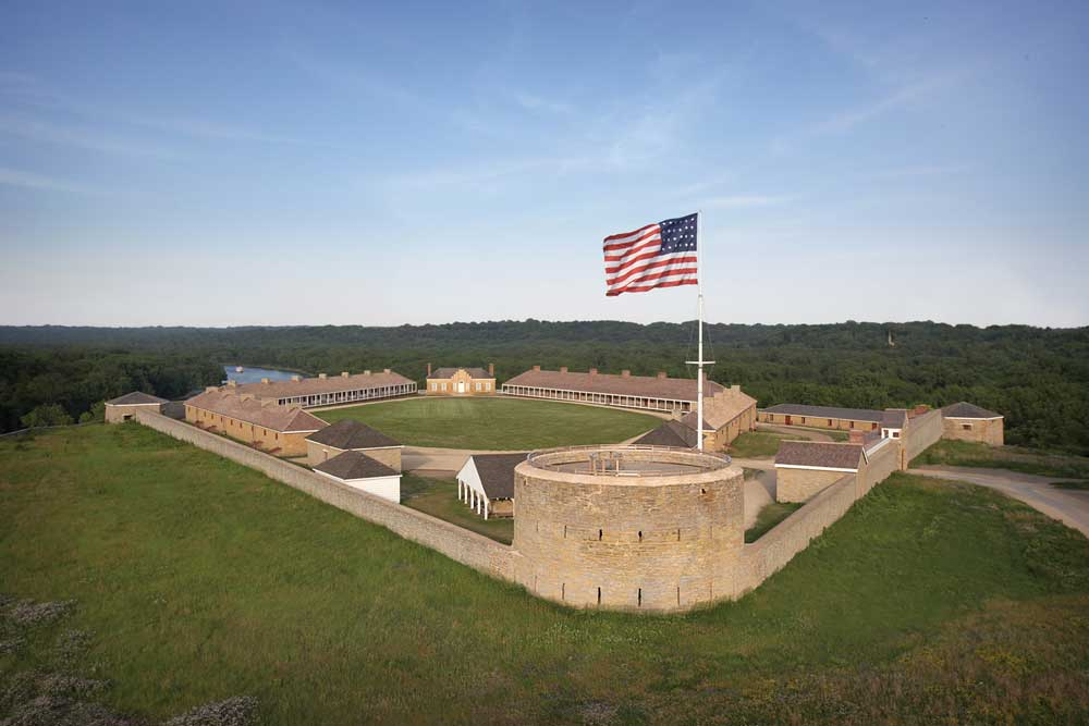 An overhead shot of historic Fort Snelling, one St. Paul's historic places.