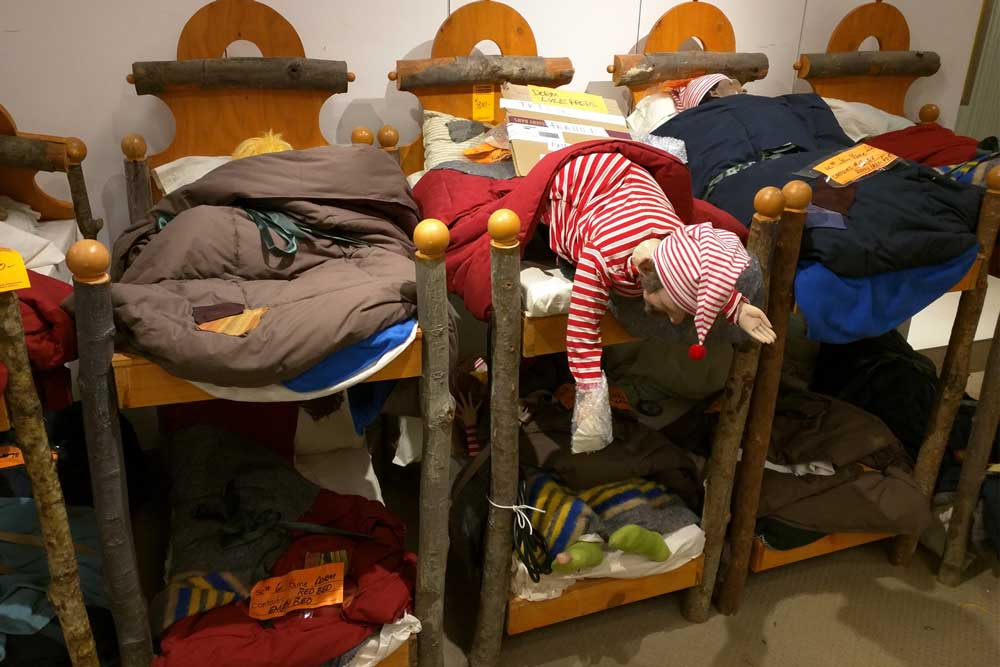 Animatronics in bunk beds from one of Macy's holiday displays.