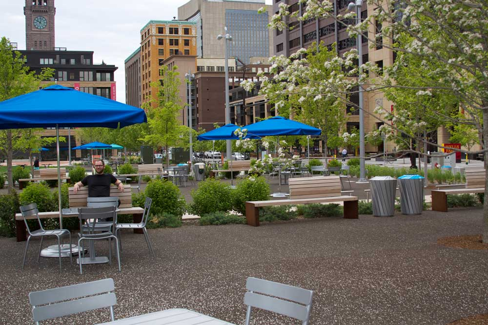 The myriad of seating tables at Downtown East Commons in downtown Minneapolis.