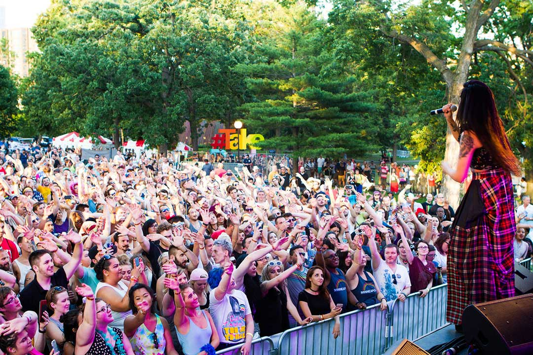 A performance at the Pride Festival at Loring Park in downtown Minneapolis during Pride Twin Cities.