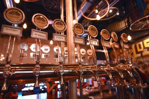 Beers on tap at LynLake Brewery in Uptown Minneapolis. Brewery biking tours