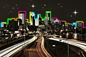 Minneapolis city skyline at night, created by the Fringe Festival