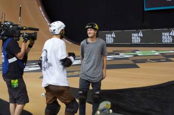 Italo Penarrubia and Clay Kreiner hanging out after Clay's attempt during the Big Air competition at X Games Minneapolis 2017.