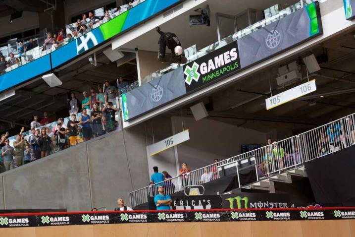 Leonardo Ruiz catching air during the Big Air competition at X Games Minneapolis 2017.