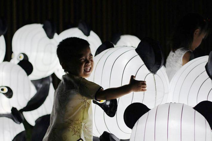 Adotable boy hugs panda lantern at Lantern Light Festival