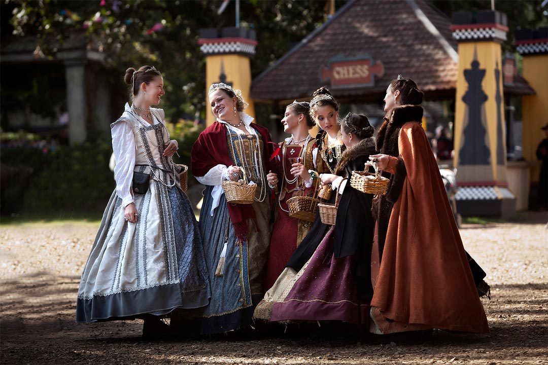 Maidens gathered at the Artisan Marketplace at the Minnesota Renaissance Festival.