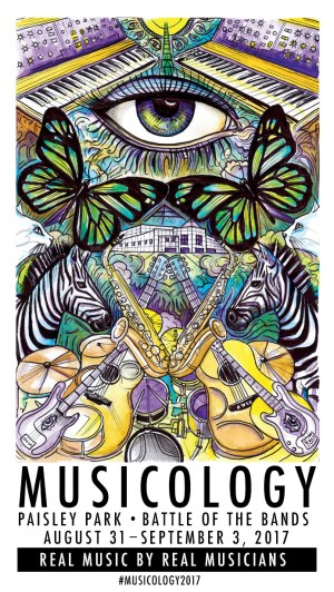 Musicology 2017 Poster with butterflies, zebras, saxaphones, guitars and more.