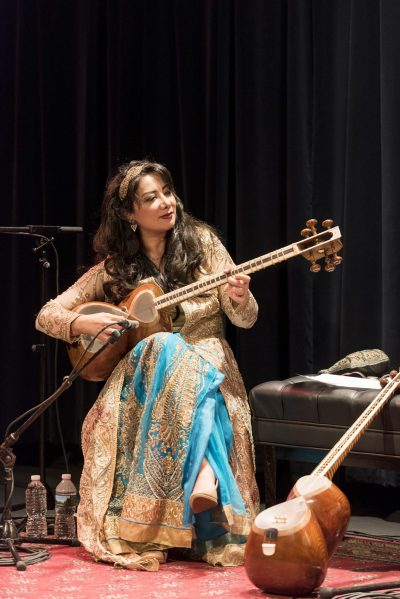 Iranian musician Sahba Motallebi on the Iranian 'tar' (a long-necked, double-bowl lute) performs a program of traditional and improvisatory Persian music presented by Robert Browning Associates at the Symphony Space Thalia Theater, New York, New York, Friday, October 21, 2016. CREDIT: Photograph © 2016 Jack Vartoogian/FrontRowPhotos. ALL RIGHTS RESERVED.
