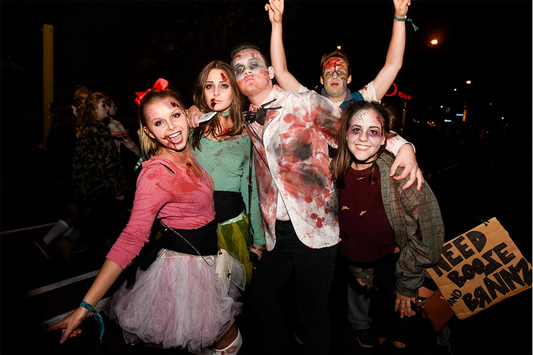 A group of people dressed as zombies at the Zombie Pub Crawl.
