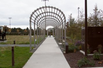 The Alene Grossman Memorial Arbor and Flower Garden at the Minneapolis Sculpture Garden.