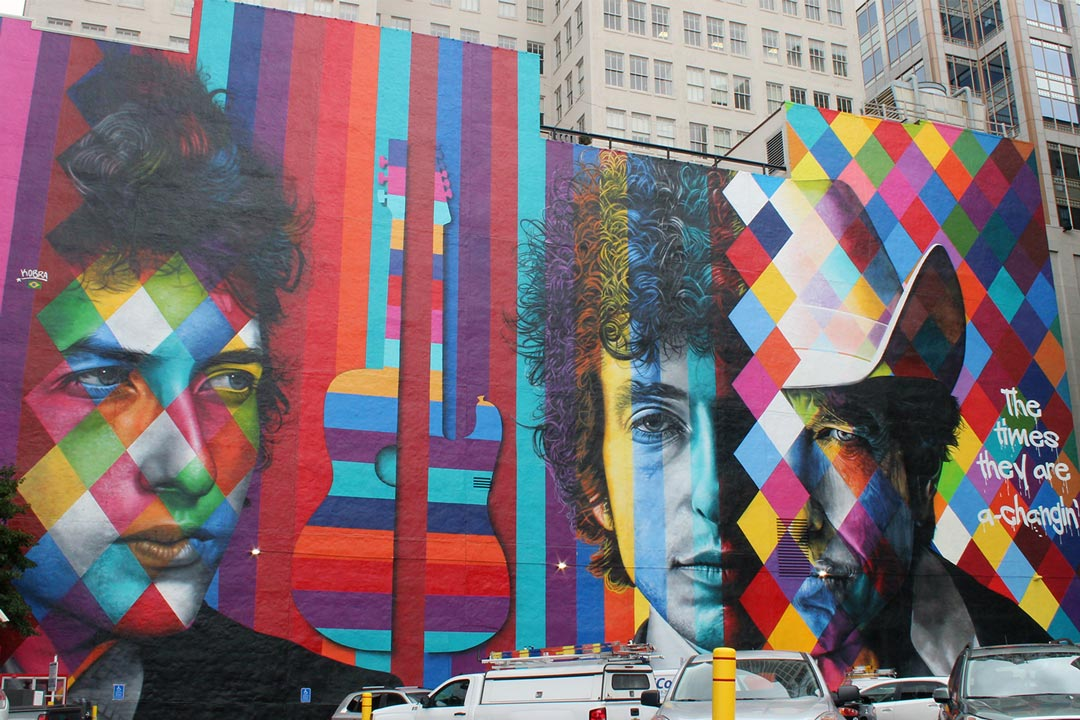 The Bob Dylan mural in downtown Minneapolis, one of the best Minneapolis murals.