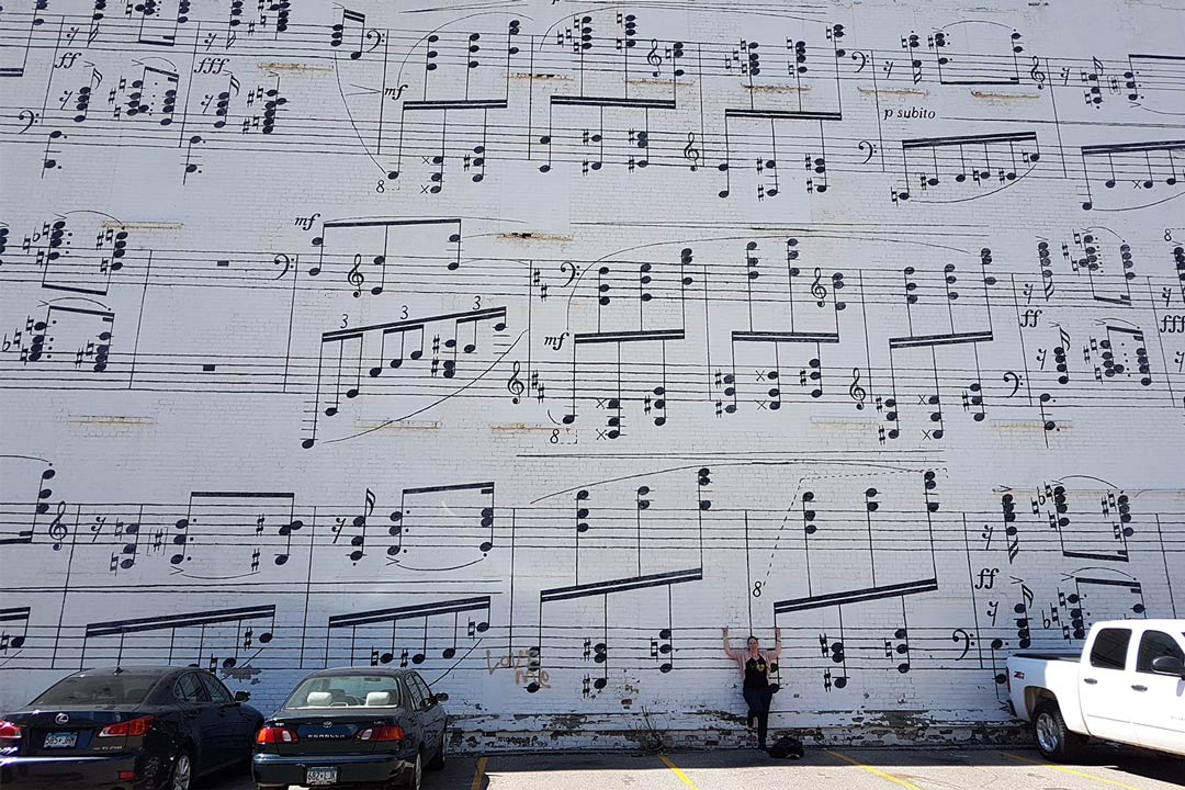 The Schmitt Music Mural in downtown Minneapolis, one of the best Minneapolis Murals.