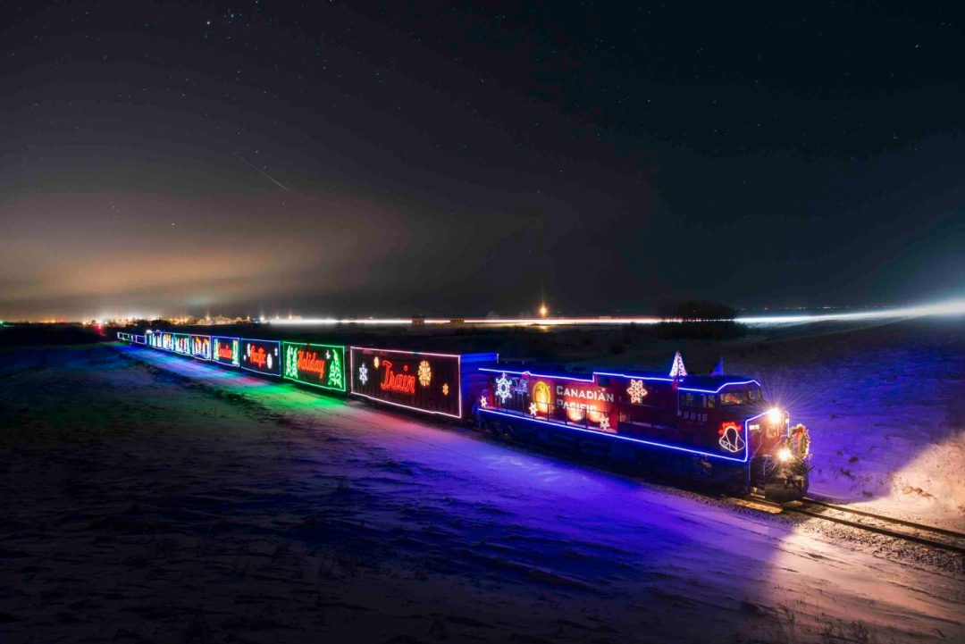 Photo courtesy of the CP Holiday Train. The train flies through the night across snow-covered lands, its holiday lights always shining bright except across the border of Canada to the U.S.