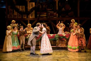 Photo by Dan Norman. The cast of the Guthrie Theater's production of A Christmas Carol by Charles Dickens, adapted by Crispin Whittell, directed by Lauren Keating. Scenic design by Walt Spangler, costume design by Mathew J. LeFebvre, lighting design by Christopher Akerlind. November 14 – December 30, 2017 on the Wurtele Thrust Stage at the Guthrie Theater, Minneapolis.