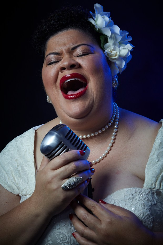 Photo by William Clark, courtesy of Jungle Theater. Thomasina Petrus takes the stage as Billie Holiday.