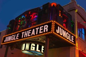 Courtesy of Jungle Theater. The Jungle Theater's jewel-toned marquee in the Lyn-Lake area.